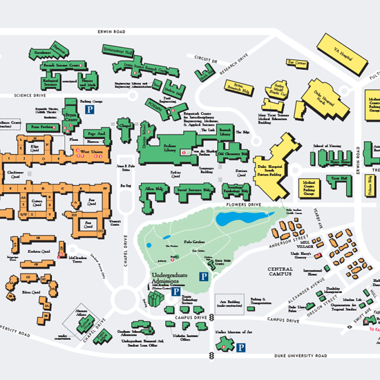 Map of west/central campus